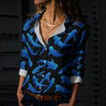 Whales In Night Cotton And Linen Casual Shirt QA260106