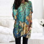 Mermaid Pocket Long Top Women Blouse CH260101