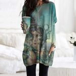 Seahorse Pocket Long Top Women Blouse CH260103