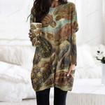 Turtle Pocket Long Top Women Blouse CH260106