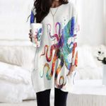 Watercolor Octopus Pocket Long Top Women Blouse KH260103