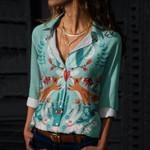 Folk Art Fortune Cotton And Linen Casual Shirt QA270101