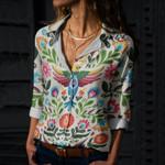 Folk Art Flora Cotton And Linen Casual Shirt QA270105
