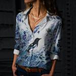 Magpie Bird Cotton And Linen Casual Shirt QA270106