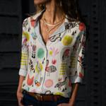 Bird Folk Art Cotton And Linen Casual Shirt QA270109