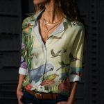 Birds Cotton And Linen Casual Shirt CH290102