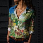Birds Cotton And Linen Casual Shirt CH290106