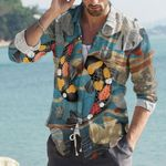 Koi Fishes Cotton And Linen Casual Shirt CH290129