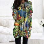 Parrots Pocket Long Top Women Blouse CH290109