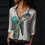 Sea Turtle Cotton And Linen Casual Shirt QA290102