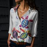 Colorful Turtles Cotton And Linen Casual Shirt QA290105