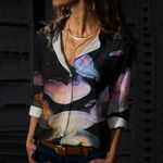 Jellyfish In Night Cotton And Linen Casual Shirt QA290112