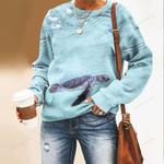 Swimming Sea Turtle Unisex All Over Print Cotton Sweatshirt QA290116