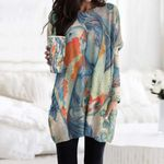 Fishes Pocket Long Top Women Blouse CH290123