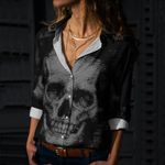 Skull Cotton And Linen Casual Shirt CH010204