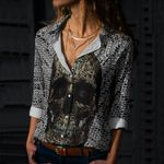 Skull Cotton And Linen Casual Shirt CH010214