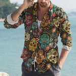 Skull Cotton And Linen Casual Shirt CH010223