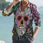 Skull Cotton And Linen Casual Shirt CH010224