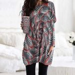 Fishes Pocket Long Top Women Blouse CH010201