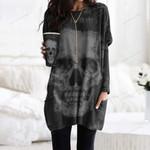 Skull Pocket Long Top Women Blouse CH010204