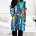 Jellyfish Pocket Long Top Women Blouse CH010205