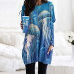 Jellyfish Pocket Long Top Women Blouse CH010207