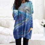 Swordfish Pocket Long Top Women Blouse CH010213