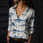 Atlantic Cutlassfish, Yellowfin Tuna - Marine Life Cotton And Linen Casual Shirt KH010207