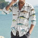 Rainbow Runner, Remora  - Marine Life Cotton And Linen Casual Shirt KH010208