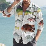 Dolphinfish, Australian Salmon - Marine Life Cotton And Linen Casual Shirt KH010209