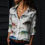 Striped Mullet, Great Barracuda - Marine Life Cotton And Linen Casual Shirt KH010210
