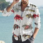 Rice Eel, Redfish - Marine Life Cotton And Linen Casual Shirt KH010214