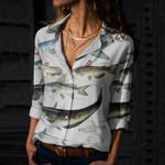 Atlantic Surrey, Ricefish - Marine Life Cotton And Linen Casual Shirt KH010225