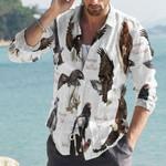 Eagles Of The World - Birdwatching - Bird Cotton And Linen Casual Shirt KH010204