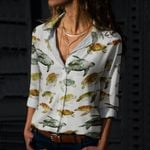 Watercolor Sea Turtles Cotton And Linen Casual Shirt QA020201