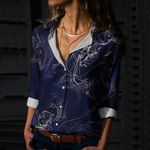 Jellyfish In Night Cotton And Linen Casual Shirt QA020213