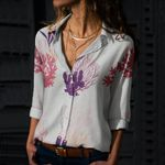Seaweed - Coral Reef Cotton And Linen Casual Shirt QA020206