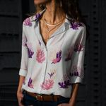 Seaweed - Coral Reef Cotton And Linen Casual Shirt QA020207