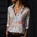 Coral Reef Cotton And Linen Casual Shirt QA020208