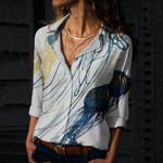 Metallic Jellyfish Cotton And Linen Casual Shirt QA020218