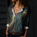 Metallic Jellyfish Cotton And Linen Casual Shirt QA020219