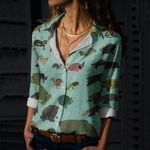 Freshwater Turtles And Tortoises Cotton And Linen Casual Shirt QA020222