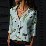 Flying Hummingbirds Cotton And Linen Casual Shirt QA020225