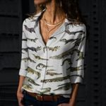 Crocodilians Of The World Cotton And Linen Casual Shirt QA020228
