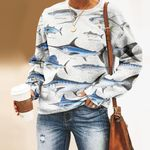 Atlantic Cutlassfish, Yellowfin Tuna - Marine Life Unisex All Over Print Cotton Sweatshirt KH010207