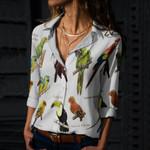 Sun Parakeet, Military Macaw - Birds Cotton And Linen Casual Shirt KH020204