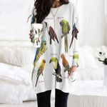 Sun Parakeet, Military Macaw - Birds Pocket Long Top Women Blouse KH020204