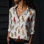 Goldfinch - Birdwatching - Bird Cotton And Linen Casual Shirt KH020206