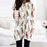Goldfinch - Birdwatching - Bird Pocket Long Top Women Blouse KH020206