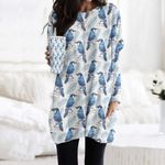 Blue Jay - Birdwatching - Bird Pocket Long Top Women Blouse KH020205